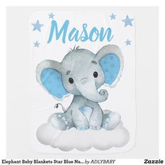 Elephant Baby Blankets Star Blue Name Elephant Baby Blanket, Elephant Nursery, Nursery Boy, Elephant Art, Elephant Gifts, Baby Shower Gifts, Baby Gifts, Fun Gifts, Blue Names