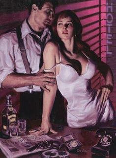 Franc is an actor in a film serial pulp noir story. Vintage Romance, Vintage Art, Arte Do Pulp Fiction, Serpieri, Jack Vettriano, Illustration Art, Illustrations, Robert Mcginnis, Frank Frazetta