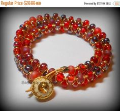 ON SALE Beaded Wrap Bracelet red glass beaded by BethExpressions