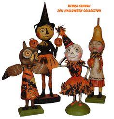 The 2011 Debra Schoch Halloween Folk Art Collectible figures