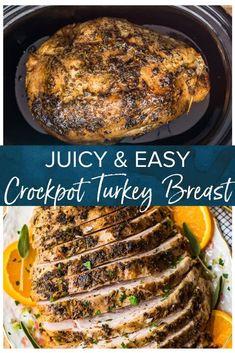 Crockpot Turkey Breast (Slow Cooker Turkey) - The Cookie Rookie® - This crockpot turkey breast recipe guarantees succulent and juicy turkey every-time, as well as fre - Turkey Breast In Crockpot Recipe, Smoked Turkey Breast Recipe, Turkey Crockpot Recipes, Whole Turkey Recipes, Roast Turkey Breast, Crockpot Meals, Cooking A Frozen Turkey, Slow Cook Turkey, Turkey Tenderloin Recipes