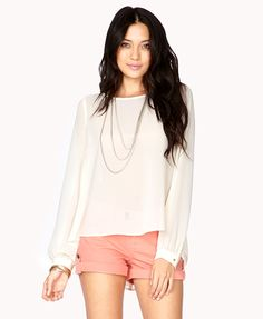 Cutout High-Low Georgette Top | FOREVER21 - 2038074372