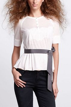 Wish it came in a color...looks so pretty! Gauze Peplum Tee - Anthropologie.com