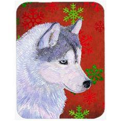 Caroline's Treasures Snowflakes Siberian Husky Glass Cutting Board Color: Red/Green
