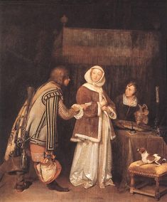 "1655 -  ""The Letter"" by Gerard ter Borch (Dutch Baroque Era painter, 1617-1681)"