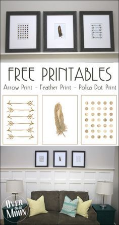 Free Printable Decor Printables - Arrow, Feather and Polka Dot prints!  From www.overthebigmoon.com!