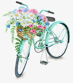 I made this pretty printable for you. I love bicycle prints and this one with the basket full of pretty flowers is one of my favorites. flowers printable A Pretty Printable for You - Create and Babble Illustration Blume, Bike Art, Vintage Flowers, Vintage Birds, Printable Art, Free Printables, Bicycle Printable Free, Decoupage Printables, Printable Quotes