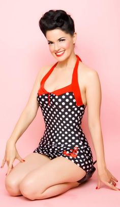 Black and white polka dot with red strap and anchor pinup girl 50's style bathing suit. Just beautiful!