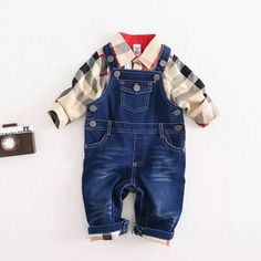 Newly Design Baby Boys Clothes Sets Plaid T-shirt Top Bib Pants Overall Outfits Nov11 #>=#>=#>=#>=#> Click on the pin to check out discount price, color, size, shipping, etc. Save and like it!