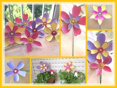 Flores con botellas de plastico o PET, para decoracion de jardin o terraza / DIY by Luz Arias ...