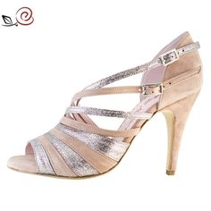 Tango shoes for women in pink suede and multicolor glitter fabric