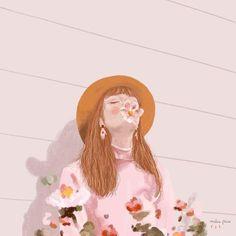 Flower girl illustration by Malena Flores Portrait Illustration, Illustration Girl, Girl Illustrations, Graphic Design Print, Art Graphique, Book Cover Design, Beautiful Artwork, Gouache, Art Inspo