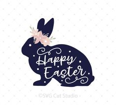 Easter Bunny with Flowers SVG Cut Files for Cricut and Silhouette