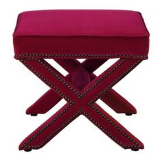 Reese Pink Velvet OttomanAdd a touch of sophistication with this functional and ultra chic ottoman. Available in multiple color options it is perfect for anyone looking for unique style. Featuring Hand-applied nail head detailing, this X-ottoman will be the perfect addition to any decor.