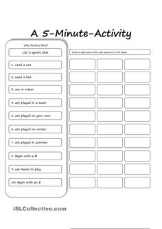 This a 5 min activity for ss to activate the vocabulary they know about sports. Senior Activities, Vocabulary Activities, Counselling Activities, Teamwork Activities, English Activities, Kids Education, Physical Education, Home Learning, English Lessons