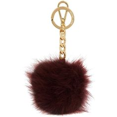 Womens Keyrings Michael Kors Burgundy Fox Fur Pompom Keyring ($61) ❤ liked on Polyvore featuring accessories, michael kors key ring and michael kors