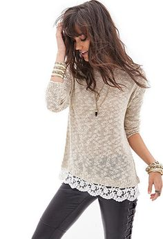 Lace-Trimmed Open-Knit Sweater | FOREVER21 - 2000060933 and the pants!!