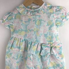 0efdcfd299cf Vintage Mayfair Baby Girls Pastel Floral Romper Bubble Ruffles Bow 12months