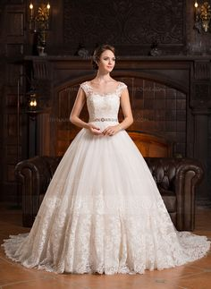 Ball-Gown Scoop Neck Cathedral Train Beading Appliques Lace Sequins Zipper Up Covered Button Cap Straps Sleeveless Church General Plus No Winter Spring Fall Other Colors Tulle Wedding Dress