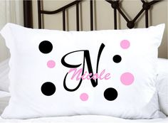 Featuring 1 personalized white pillowcase with your childs name. The size of the pillow case is approx. 20 x 30. This does not include the pillow it