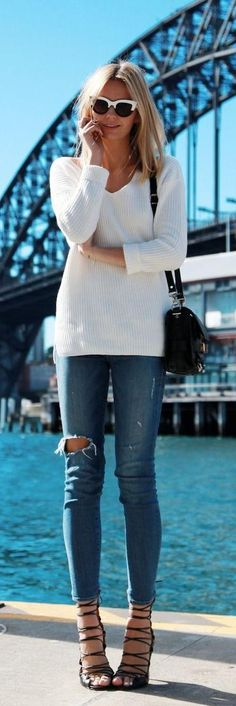 Sweater + Strappy Sandals