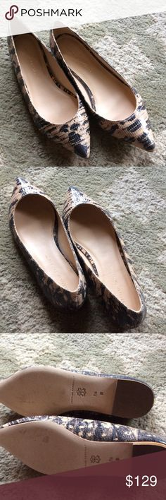 Loeffler Ranndall Snakeskin Flats Gorgeous and neutral. Black and nude snakeskin flats by Loeffler Randall. Only worn once. Loeffler Randall Shoes Flats & Loafers