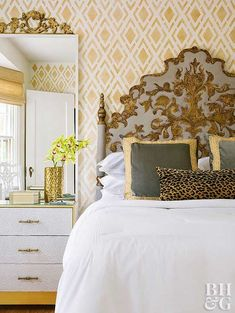 Pam painted over the existing headboard with a muted blue but kept the intricate gold accents. The result is gorgeous. A matching gold decoration above the mirror ties the elements together. Large Furniture, Painted Furniture, Classic Furniture, Vintage Headboards, Diy Headboards, Boudoir, Vintage Chairs, Beautiful Bedrooms, Better Homes