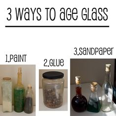 Tutorial: Aging glass jars for Halloween! Buy inexpensive glass and distress them and add spooky labels which you could also distress! Halloween Potion Bottles, Halloween Apothecary, Halloween Potions, Apothecary Jars, Halloween Labels, Holidays Halloween, Halloween Crafts, Halloween Decorations, Halloween Displays