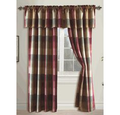 Curtains, Drapes and Window Treatments - Swags Galore - Curtains Plaid Panels, Home Curtains, Fabric Shower Curtains, Curtains, Country Valances, Curtains And Draperies, Burgundy Curtains, Curtain Styles, Paneling