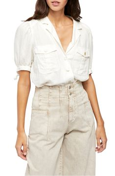 Free shipping and returns on Free People Safari Babe Woven Top at Nordstrom.com. Tie details accentuate the elbow-length sleeves of this airy and versatile woven top.