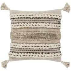 Goa Taupe Bohemian Tassel Wool Feather Down Throw Pillow x Beige - 30 x 30 (Cotton, Textured) Cricut, Sofa Pillows, Accent Pillows, Beige Pillows, Cushions, Pillow Set, Throw Pillow Covers, Heart Pillow, Bolster Pillow