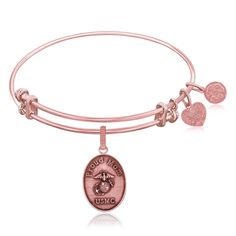 Expandable Bangle in Pink Tone Brass with U.S. Marine Corps Proud Mom Symbol
