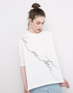 Pull&Bear - woman - t-shirts - love me twice' oversize t-shirt - white - 05239311-V2016