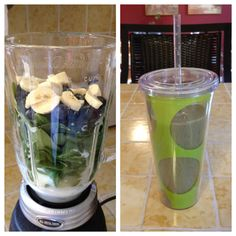 2 cups spinach, 1/2 cup Greek yogurt, 1/2 cup organic reduced fat milk, 1/2 cup blueberries & 1/2 small banana = nutritious b'fast