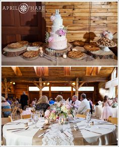 Pretty Barn Wedding with lace and burlap table decor at Lower Lake Ranch Colorado
