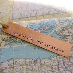 Latitude Longitude Bookmark, Hand Stamped Hammered Copper | Made on Hatch.co