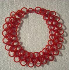 Spectacular Large Red Celluloid Necklace Vintage Timeless Chainlink Design | eBay
