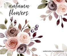 Autumn Illustration, Autumn Flowers, Free Advertising, Frame Wreath, Print Templates, Beautiful Artwork, Watercolor Flowers, Planner Stickers, Party Invitations