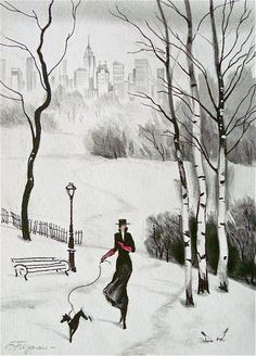 "Erik Freyman ""Central Park,"" Winter Stroll #1"", original pastel drawing #ArtDeco"