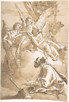 The Three Angels Appearing to Abraham by the Oaks of Mamre -  Giovanni Domenico Tiepolo  (Italian, Venice 1727–1804 Venice)  Date: 1727–1804 -  Medium: Pen and dark brown ink, brush and brown wash, over black chalk (recto). Framing lines in pen and ink. Parts of drawing outlines traced, in black chalk (verso)