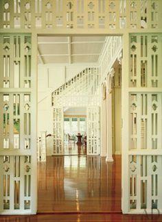 A hallway in the former U.S. ambassador's Bangkok home looks across the veranda entrance.