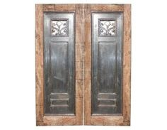 Salvage Wood Double Door With Steell Panel And Hand Forged Iron Detail 1910's