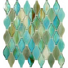 Turquoise Green Unique Shapes Glass Glossy Tile