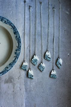 Ceramic Pendant Necklace made of Antique Transferware French Plates - Blue Teal Nautical Design - Stocking Stuffer for Her Under 25 by FrenchAtticFinds on Etsy https://www.etsy.com/listing/211513623/ceramic-pendant-necklace-made-of-antique