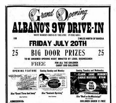1956 Drive In Movie Theater, Big Doors, Door Prizes, Opening Night, Letting Go, Theatre, Let It Be, Ravenna, Lets Go