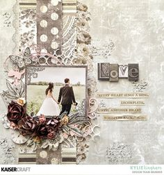 "Kaisercraft and K & Company - cards and scrapbooking paper, ""Romantique"", x cm - Wedding Scrapbook Pages, Love Scrapbook, Birthday Scrapbook, Scrapbook Designs, Scrapbook Page Layouts, Scrapbook Albums, Scrapbook Paper, Heritage Scrapbook Pages, Scrapbook Examples"