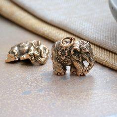 Bronze Elephant Charm Pendant, Natural Bronze Elephant, Ornate Elephant Pendant, Elephant Jewelry, Bronze Jewelry, BS17-1024J