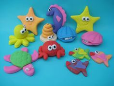 Sea Creatures Inspired Home Accessories Ocean Cakes, Beach Cakes, Little Mermaid Cakes, Animal Cupcakes, Holiday Cupcakes, Fondant Animals, Fondant Decorations, Biscuit, Fondant Toppers