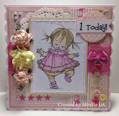 "handmade card using ""Walker"",  a Mo Manning digital stamp - Cute and Crafty Cards by Mirella: I'm back!!!! First birthday card!"