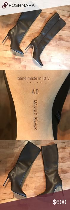 """Manolo Blahnik Hanzuotall Leather Stiletto Boot 40 Authentic - NWOB - Manolo Blahnik Knee High Stiletto Boot - pointy toe leather soles and lining covered stiletto heel measures approximately 4 1/4"""" tall shaft measures about 15 3/4"""" calf circumference at"""